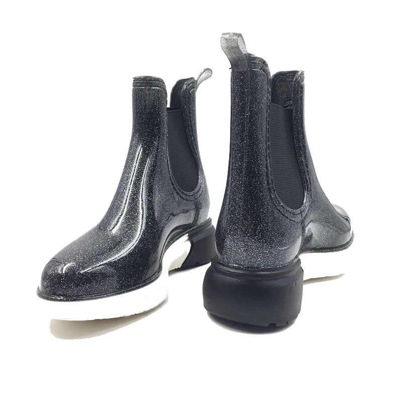 Aleafalling 2018 yeni moda kadınlar yağmur çizmeleri üzerinde kayma tarafı elastik bant kızın açık sokak büyüleyici yağmur ayakkabıları W205
