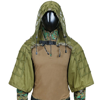 New Tactical CS Training Hunting Clothes With Yarn Sniper Camouflage Mesh Ghillie Suits Foundation Outdoor Shooting Jacket Sets 2