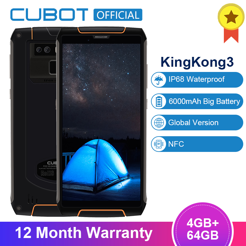 Cubot King Kong 3 IP68 Waterproof Smartphone Android 8.1 4GB 64GB MT6763T Octa Core Cellular 5.5'' 18:9 6000mAh Fast Charge 16MP|Cellphones| |  - title=
