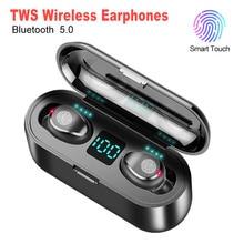 หูฟังไร้สายบลูทูธ V5.0 F9 TWS หูฟังไร้สายบลูทูธจอแสดงผล LED 2200mAh Power Bank ชุดหูฟังไมโครโฟน