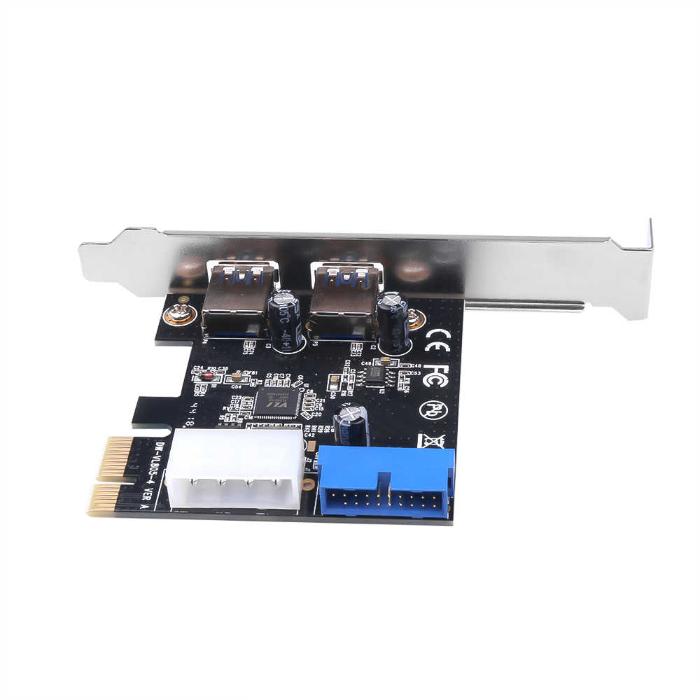 Adaptador USB 3,0 PCI-E adaptador de tarjeta de expansión externo 2 puertos USB3.0 Hub interno 20 Pin conector PCI-E tarjeta nuevo