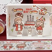 1 шт. милые девушки Васи клейкие наклейки Kawaii персонажи маскирующая лента Diy клейкая лента для скрапбукинга Детский сад полоски наклейки