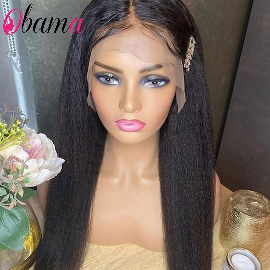 Yaki Straight Lace Front Human Hair Wigs For Women 150% Density Straight Human Hair Wigs 28 Inches Lace Front Wigs Pre Plucked