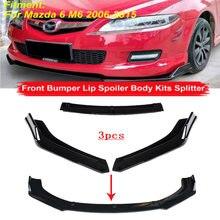 3 uds alerón de parachoques delantero Protector de labios Kit de cuerpo superficie de tira decorativa para coche Chin pala para Mazda 6 M6 2006-2015