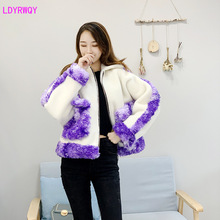 2019 autumn and winter new Korean womens fashion sheep shearing stitching contrast color lapel zipper bat sleeve short coat