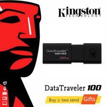 Kingston – clé USB 128 en plastique, support à mémoire de 16GB 32GB 64GB 3.0 GB, lecteur Flash, disque mémoire, DT100G3