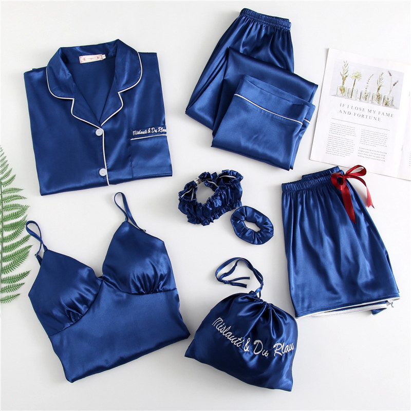 Spring Summer 7 Pcs Set Silk Elegant 2020 Women Pajamas Set Solid Long Sleeve Top Elastic Waist Pants Sleepwear with Chest Pad