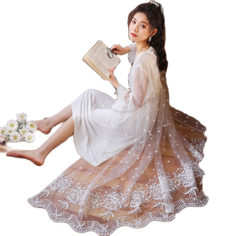 Princess Style Embroidered Dress Sleepwear Women Set Night Gown and Robe Sets for Women Cotton Night Dress Pijamas Women Sexy