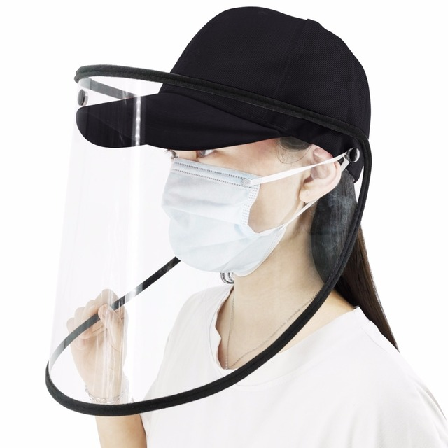 Outdoor protective Baseball cap Anti-saliva Full Face Cover Hat Safety Face Shield Removable Transparent Face Cover