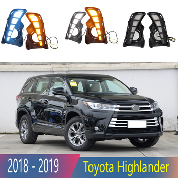 2pcs For Toyota Highlander 2018 2019 LED Daytime Running Lights DRL with Fog lamp hole Yellow Turn Signal lamp Blue Night light