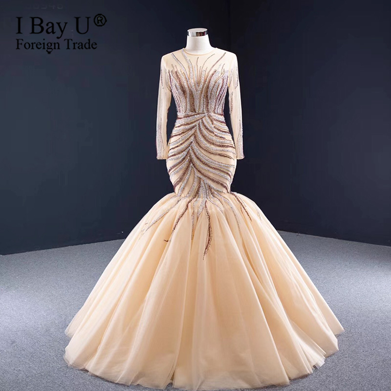 Champagne Long Sleeve Puffy Tiered Train Mermaid Bridal Gowns 2020 Luxury Beading Sparkle Wedding Dress