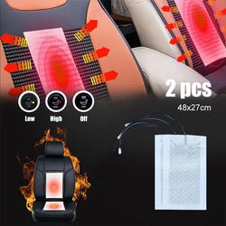 Universal 12V 2 Pads Carbon Fiber Heated Seat Heater heating 12 V Pads 2 5 6 Level Switch Winter Warmer Seat Covers