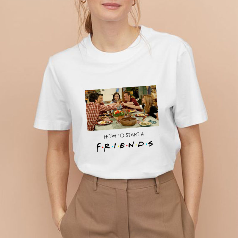 Showtly Friends TV Show 25TH Anniversary How To Start A Friends Women T Shirt  Harajuku T Shirt Fashion Fans Gift Fashion Tops