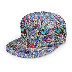 Psychedelic Violet Blue Cat Baseball Cap 3D Custom Print Snapback Adjustable Hip Hop Dad Hat Casual Team(China)