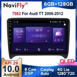 6+128G QLED Android 10 car radio For Audi TT MK2 8J 2006-2012 2DIN auto audio Car stereo navigation screen multimedia 2 Din BT