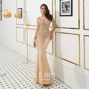 Image 3 - Prom Dresses 2020 Summer S.T.DES Hot Gorgeous Golden Illusion Full Sequins Beaded Mermaid Long Sleeves Long Evening Dress