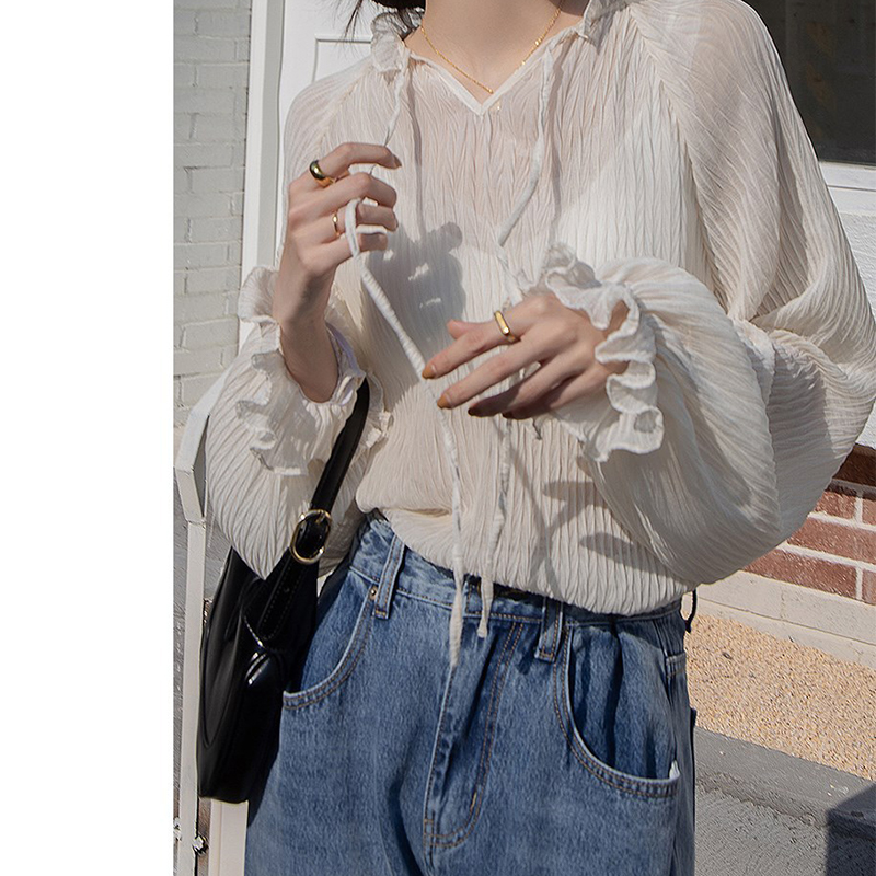 Lace Loose White Blue Shirts Short Women's 2021 New Korean Style Loose Temperament Inner Chiffon Chic Streetwear Sexy Shirts