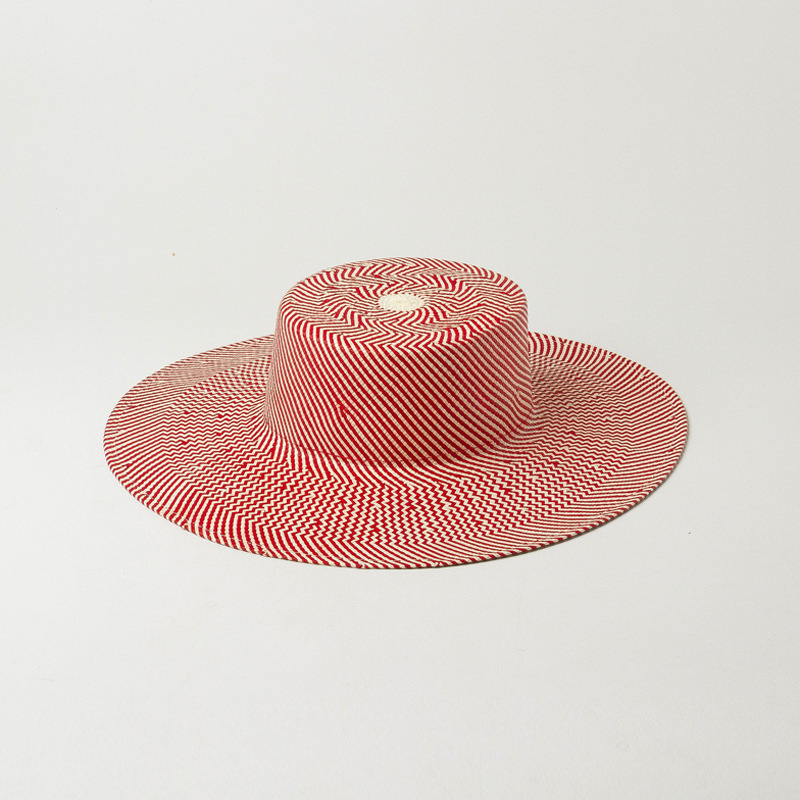 European American Spring Summer Straw Hat New Striped Woven Light Body Flat Top Big Eaves Straw Cap Outdoor Sunshade Beach Flat