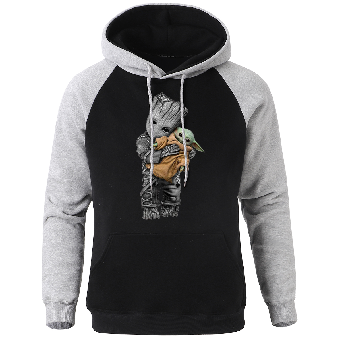 Groot And Yoda Funny Print Men Raglan Hooded Sweatshirt Spring Winter 2020 New Hip Hop Mandalorian Pullover Casual Fleece Hoodie