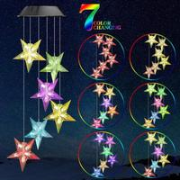 Star Shape/Love Heart 6LED Solar Powered Wind Chime Lamp Outdoor Garden Hanging Lamp Solar Decorative Lights Garden Decoration|Solar Lamps| |  -