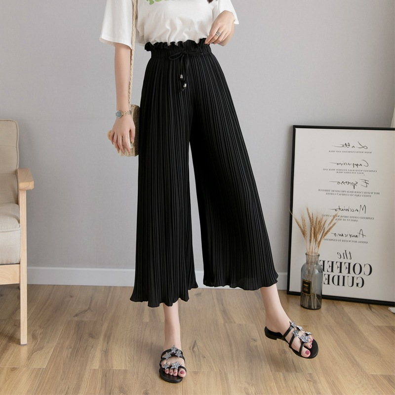 New Spring And Summer Korea Pink Drape Loose Pants Straight-Cut Viscose Short-height Divided Skirt Summer Pleated Eight Women's