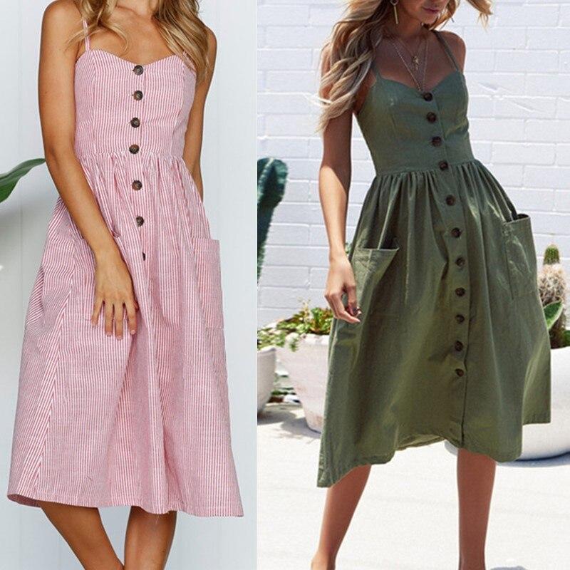 Fashion Sexy Women Dress 2019 Boho Sexy Dress Midi Button Backless Polka Dot Striped Floral Beach Sundress Casual Vintage Dress