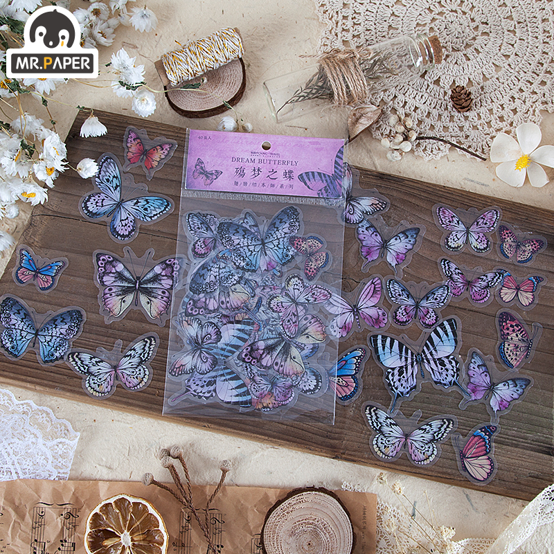 Mr.paper 8 Designs 40Pcs/lot Butterfly Deco Stickers Scrapbooking Bullet Journal Toy Plants Deco Album DIY Stationery Stickers