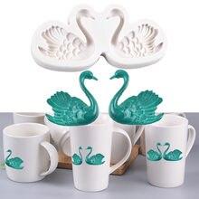Пара силиконовая форма «Лебедь» Дизайнер diy Глина Ремесло кружки