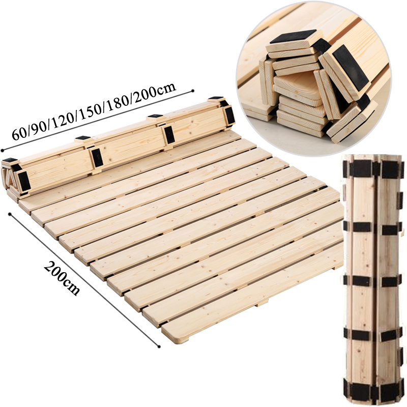 Folding Real Solid Spine Wood Bed Frame Support Hard Mattress