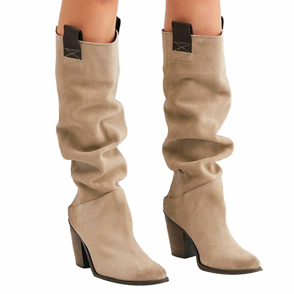 Kadın uyluk yüksek çizmeler moda süet deri yüksek topuklu Lace up kadın diz çizmeler üzerinde artı boyutu ayakkabı damla kargo 2019