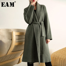 [EAM] Losse Fit Groen Big Size Bandage Temperament Wollen Jas Parka Nieuwe Lange Mouw Vrouwen Mode Herfst Winter 2019 1H645(China)