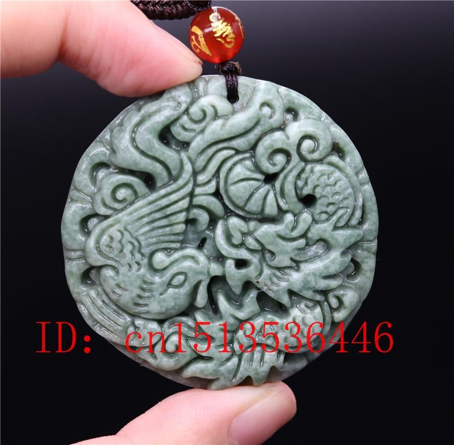 Chinese Natural Black Green Jade Pendant Dragon/&Phoenix Good Lucky Amulet Gift