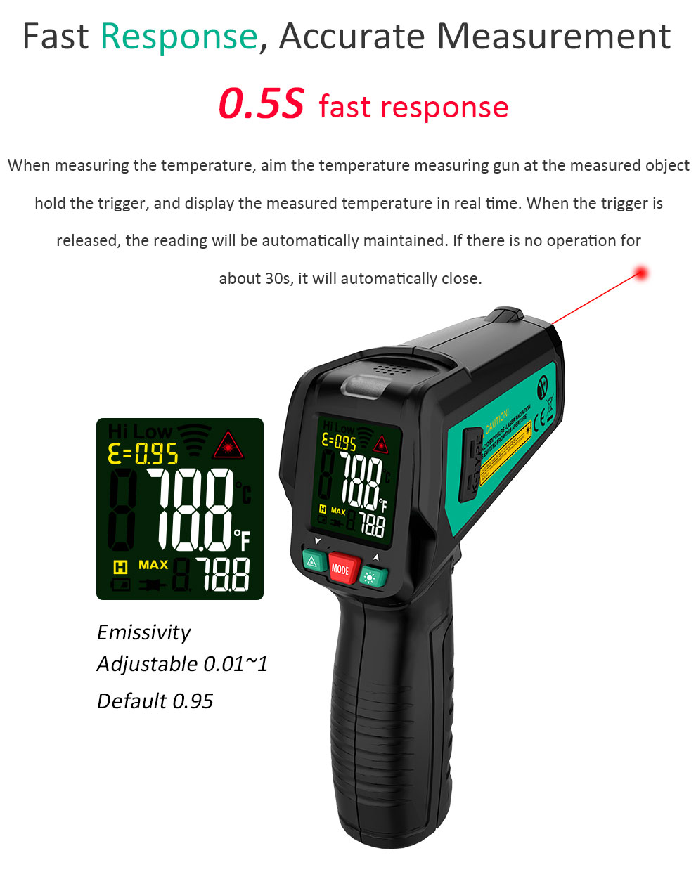 High Precision Non Contact Thermometer with K Probe and LCD Display to Check Body Temperature 15