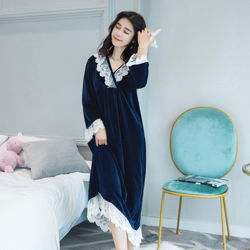 Autumn And Winter New Style Gold Velvet WOMEN'S Nightgown Mid-length Palace Retro Long Sleeve Large Size Lace Pajamas Tracksuit