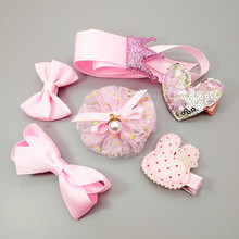 6PCS/set children kids girls hair accessories 5 hair clips for girls toddlers and 1 storage band stars crown hair bows Headdress цены