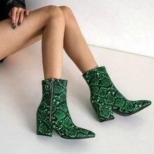 Autumn Winter Women Short Ankle Boots Martin Zip Block High Heels Pointed Toe Snake Print Western Female BT15