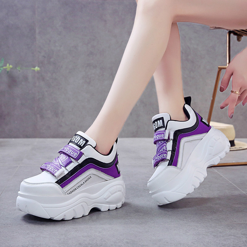NAUSK Thick Bottom Chunky Sneakers Women White Black Patchwork High Platform Shoes Woman Casual Autumn Winter Wedges Footwear
