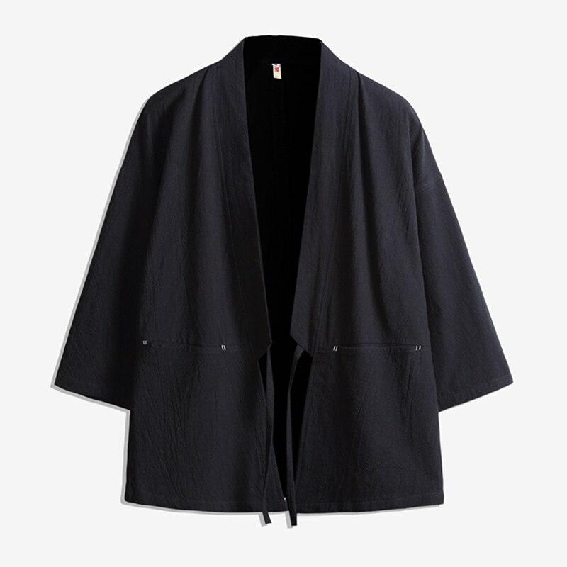 2020 Japanese Harajuku Kimono Cardigan Men Black Kimono Cardigan Men Plus Long Kimono Men