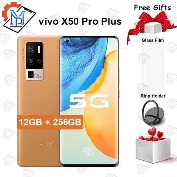 Перейти на Алиэкспресс и купить Оригинальный официальный VIVO X50 Pro Plus 5G мобильный телефон 6,56 дюйм120 Гц AOMLED 12G + 256G Snapdragon 865 Android 10 50MP камера смартфон