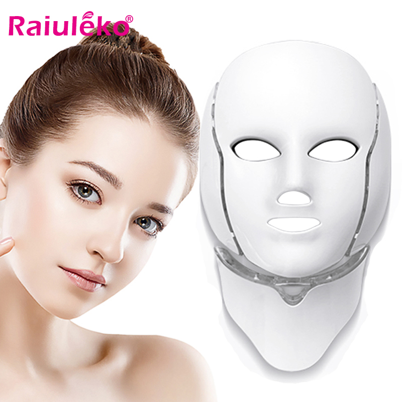 Beauty Photon LED Facial Mask with Neck LED Therapy 7 Colors Light Skin Care Rejuvenation Wrinkle Acne Removal Face Beauty Spa