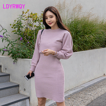 2019 Korean version of the new sweater coat temperament slim slimming knitted dress two-piece suit Elastic Waist korean version of the children s clothing 2017 spring new girl retro tune floral dress knitted vest two suit