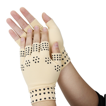 1 Pair Magnetic Therapy Fingerless Gloves Arthritis Pain Relief Heal Joints Braces Supports