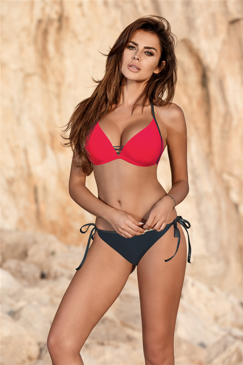 Bikini sexy bikini solid color steel plate small chest gathered nylon Europe and the United States Amazon hot sale explosion