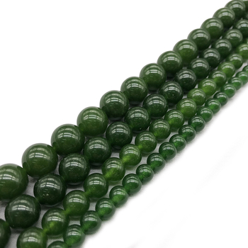 Natural  Stone Taiwan Green Jades Beads For Jewelry Making Bracelet 15inch DIY Necklace 4 6 8 10 12mm Strand