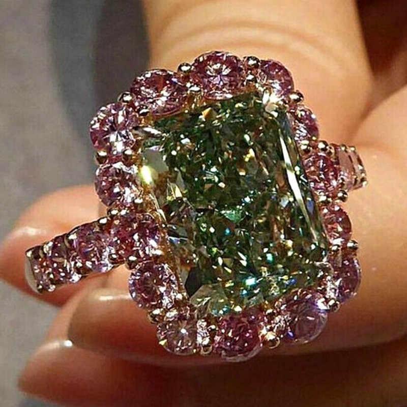 S925 Zilver Grote Groene Steen Ring Voor Vrouwen Bruiloft Zilveren Sieraden Roze Ronde Zirconia Ring Bague Femme Anillos Mujer