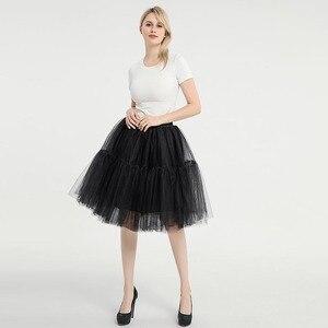 Image 5 - Knee Length Net Tulle Petticoat Womens 50s Petticoat Skirts Vintage Rockabilly Tutu Crinoline Underskirt for Women CQ046