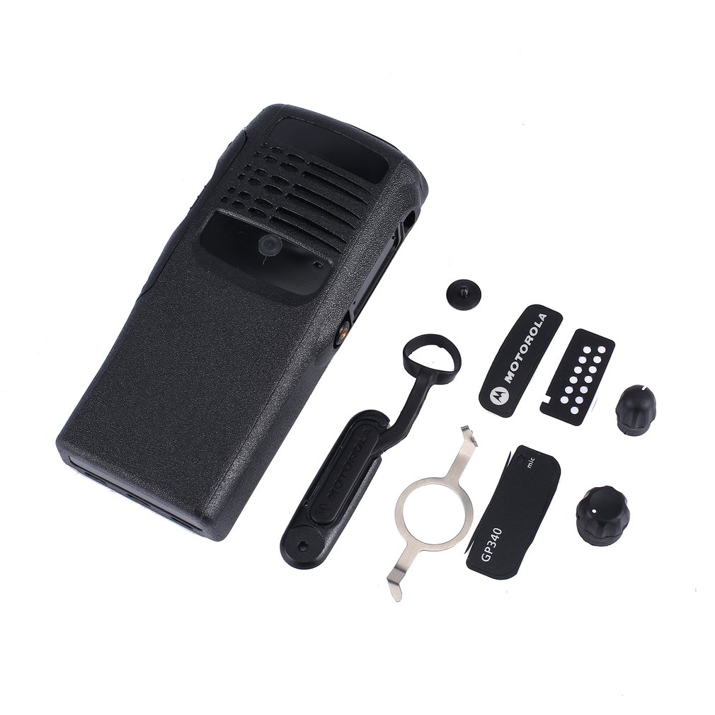 The Housing Front Case Shell For Motorola Gp340 Walkie Talkie With 2 Knobs Speaker Lock Labels Plate Dust Cover