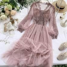 Woherb w koreańskim stylu szykowny Vestidos De Fiesta Mesh prześwitująca Sukienka 2021 lato nowa moda elegancka Sukienka długie sukienki Sukienka Kobieta