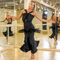 Latin Ballroom Dance Dress Black Fringe Skirt Adult Female Cha Cha Tango Salsa Samba Rumba Women Skirts Performance Wear DQS2737