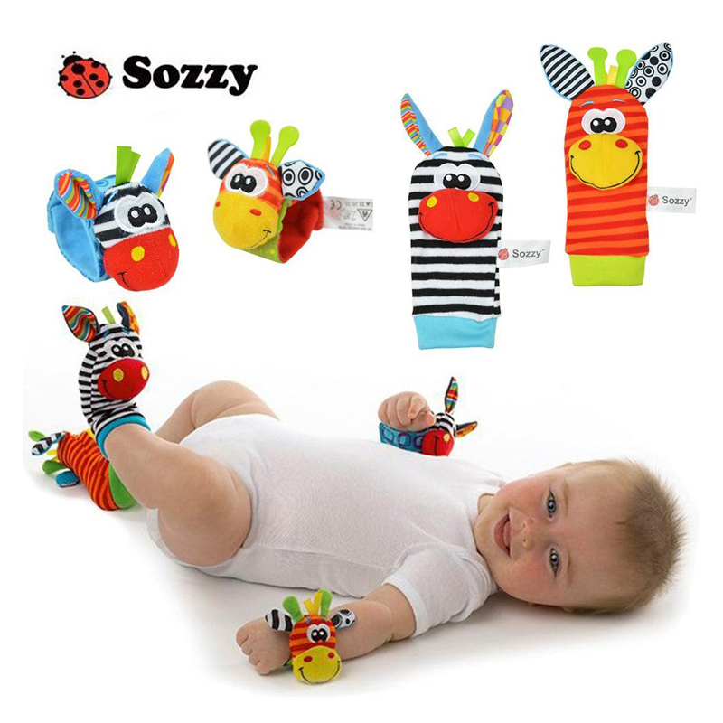1set Baby Toy Baby Rattles Toys 2020 Hot Sales Animal Socks Wrist Strap With Rattle Baby Foot Socks Bug Wrist Strap Baby Socks
